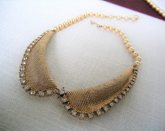 MARVELLA VINTAGE Florentine Choker NECKLACE Clear Rhinestones With Pearls Gold Tone Designer Costume Jewelry Gift Wedding 1950s