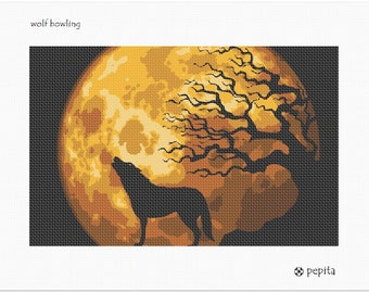 Needlepoint Kit or Canvas: Wolf Howling