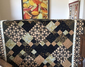 Beautiful Gold, Black, and Cream Contra Dance Quilt