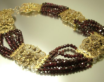 Antique Edwardian / Art Deco, large Indian silver gilt and garnet choker / collar necklace -  jewellery jewelry