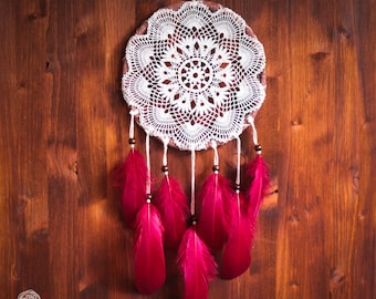 Dream Catcher - Magical Dawn - Handmade Dreamcatcher with Crochet web and Natural Cherry Feathers - Nursery Decoration, Bohemian Home Decor