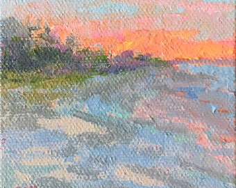 Sun Up -- Miniature oil painting,  stretched canvas miniature artist Adrienne Kernan LaVallee inspired by Biddeford Pool Maine