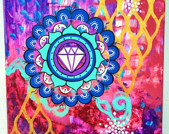 treasure within - original painting - intuitive abstract mandala painting