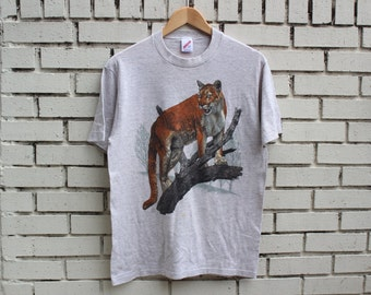 Vintage COUGAR Shirt Jerzees tag outdoor nature animal zoo vtg made in usa