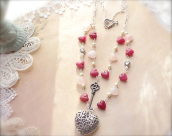 Heart Jewelry, Romantic Necklace, Heart Necklace, Red and Pink Necklace, Western Jewelry*KEYTOMYHEART*