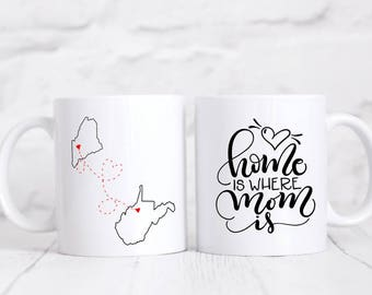 Long Distance Mom Mug - Gift for Mom - Mothers Day Gift - Custom Gift for Mom - State Map  Mug - Distance Mom Mug - Birthday Gift for Mom