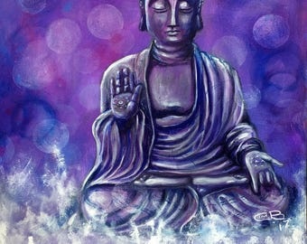 A4 Serenity Buddha with text - canvas