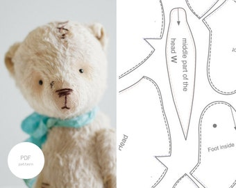 PDF Sewing Pattern Mohair Teddy Bear Pattern Stuffed Animal Soft Animal Toy Pattern Artist Teddy Bear Pattern 7 inches For Women Tutorial