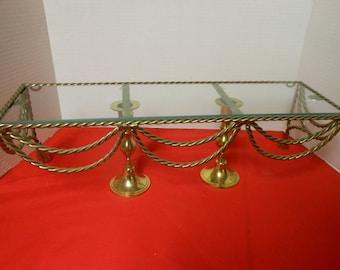 Vintage brass rope glass shelf, glass top