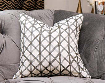 Quercus & Co - Crosshatch No. 6 in Black Ink on Linen Pillow Cover - Black and White Designer Pillow Cover