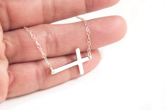Cross Necklace, Sideways Cross Necklace, Faith Necklace, Silver Cross Necklace, Religious Necklace, Confirmation Necklace, Communion Gift