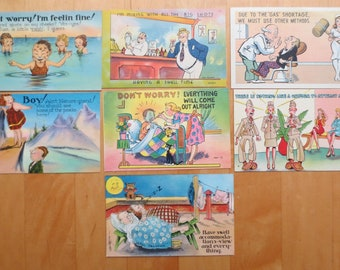 1940s Humorous Linen Postcards, Lot of 7, Not Politically Correct!, Unused, Use for Crafts, Display, Mailing