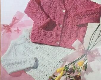 "UK/EU SELLER Vintage pdf knitting instructions Baby Girl lacy cardigans, round & V- neck, raglan sleeves. Dbl Knit. Chest 16-20""(41-51cms)"