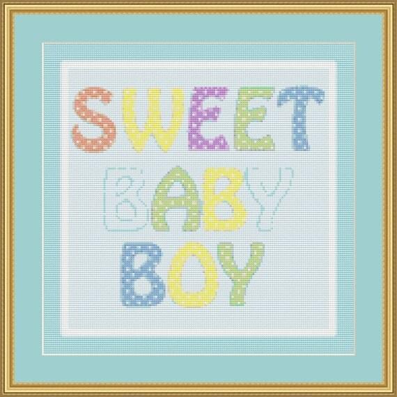 Sweet Baby Boy Cross Stitch Pattern /Digital PDF Files /Instant downloadable