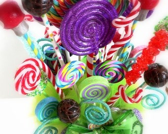 Fake Candy Centerpiece Fake Lollipops Rock Candy Cake Pops great For Alice in Wonderland and Wonka decor Candy Buffet Decoration