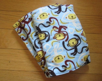 Three (3) Flannel Burp Cloths - Baby Blue with Brown and White Monkeys - Quilted and Contoured - Baby Shower Gift