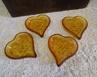 Vintage Amber Glass Heart Shaped Ash Tray or Trinket Tray Set of Four  B1395
