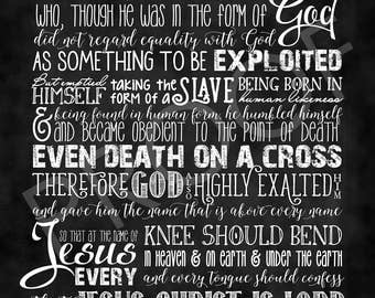 Scripture Art - Philippians 2:5-11 ~ Chalkboard Style Christ Hymn