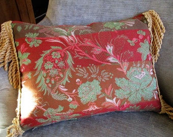Tapestry Pillow/Cushion with Fringe Trim - Vintage Tapestry Fabric