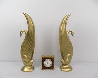 "15"" Solid Brass Swan Statue Pair Bookends Home Decor Mid Century Vintage Upcycled Gold Decor Accessory Statement Piece Mantle Shelf Library"