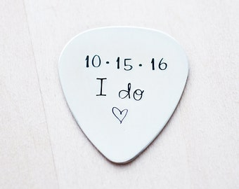 Groom Wedding Gift - I Do & Wedding Date - Father's Day - Custom Guitar Pick - Customized Pick - Hand Stamped Copper Guitar Pick - I Do