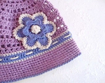 Crochet linen summer hat, crochet hat for girl, summer hat girl in purple and blue color, linen hat with flower