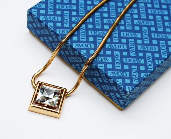 Square Crystal  Necklace - Avon Signed - ClearGlass  Rhinestone - Snake  gold Chain - Origional Box