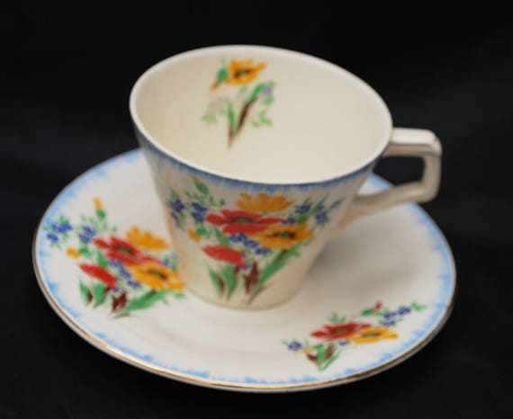 H & K Tunstall Teacup and Saucer - Made in England - Flower - blue red orange green - shabby chic
