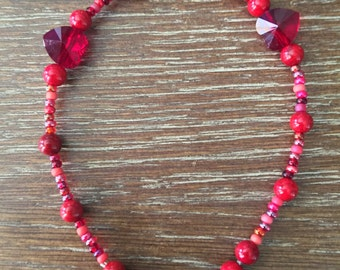 Red beaded and Red Heart Crystal beaded Bracelet