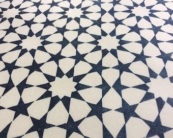 linocut - tessellation - 9x12 / printmaking / block print / blue / geometric design / tessellation