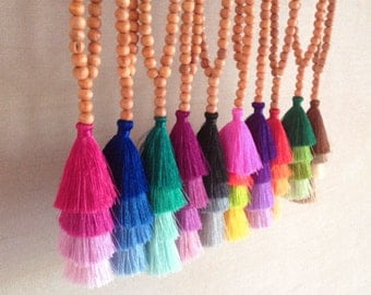 NEW Tassel Stack Necklace, Festival Tassel Necklace, Silk Tassel Beaded Necklace, Bohemian Jewelry, Gypsy Long Necklace, Assorted Colors