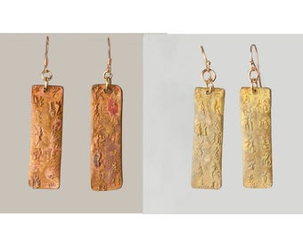 Chinese Writing Dangle Earrings w Antique Rustic Patina & Rose Gold Ear Wires, Handmade Metal Clay Earrings, Long Bronze Dangle Earrings