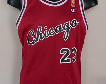 Rare Gold Logo Chicago Bulls Michael Jordan Champion Jersey Size 44