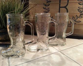 3~Frankenmuth Michigan Boot mug glass souvenir Bavarian Inn
