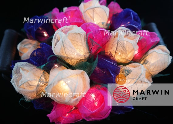 35 White Pink Purple Rose Flower Fairy String Lights Party Patio Wedding Floor Table Hanging Gift for her Home Living Bedroom Floral Decor
