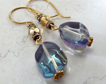 Earrings Brass and Gold and Blue Glass Dangles