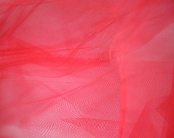 """Red Tulle Fabric 56"""" Wide Per Yard"""