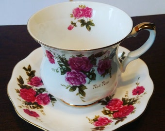 Royal Ascot Red Rose Teacup and Saucer