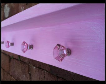 Baby Girl Pink Shelf, Nursery Shelf, Diaper Holder, Nursery Room Decor, Girls Room Decor, Pink Color Wash, Wall Hanging Shelf, Baby Shower