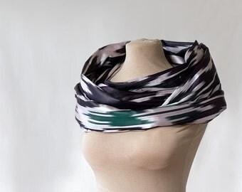 silk ikat scarf, Uzbek ikat silk, loop, eternity or endless scarf, ethnic design in black and white, chevron infinity scarf, 188