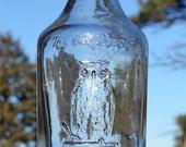 Scarce LARGE size Round OWL DRUG Co Antique Bottle w/ pic Owl on druggist mortar.  Bay Rum Cologne type bottle w/ owl on cap !