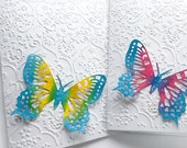 Hand made cards: Handmade butterfly card - Gorgeous - Pink - Blue Butterfly - embossed card - white butterfly card - all occasion cards