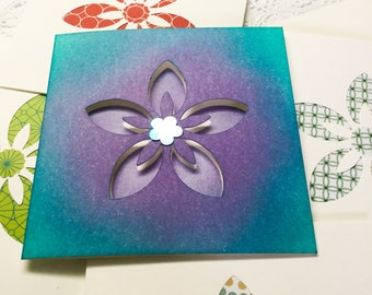 10 square cards - flower mini note cards - Stampin Up - die cut flowers - blank mini cards - Wcards