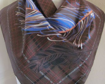 "Scarf Brown Feathers Acetate Soft Scarf 27"" Square - Affordable Scarves!!!"