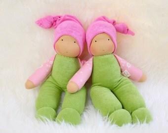 cuddle doll/ springtime, 13 inch, soft doll, waldorf doll, steiner doll,