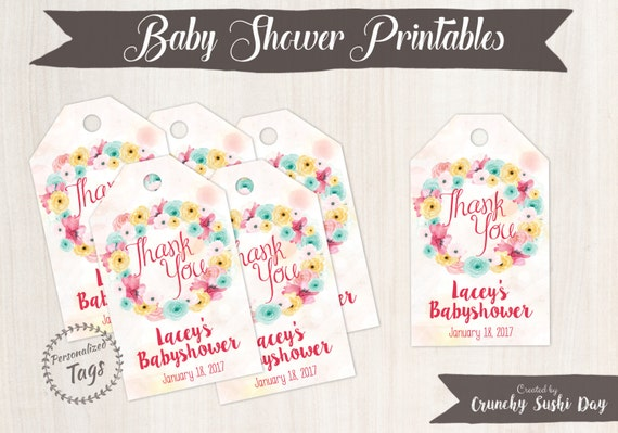 Personalized Baby Shower Thank You Tags, Gift Tags, Thank You, Baby Shower, Floral, Party, Baby Shower Decorations, Teal, Pink 001