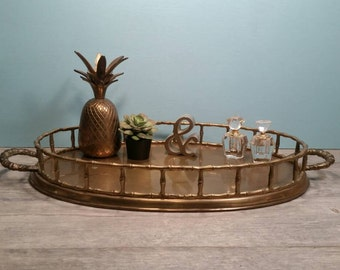 Large Brass Oval Bamboo Tray