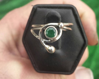 Emerald Sterling Silver Ring size 8.5