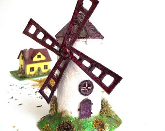 Miniature Windmill. Windmill Paper Sculpture. Windmill Art Ornament. Eco Friendly House. Unique Gift.