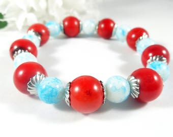 Red Bamboo Coral Bracelet & Blue Glass Bead Bracelet with Silver Accents, Bohemian Stacking Bracelet, Patriotic Trending Womens Jewelry